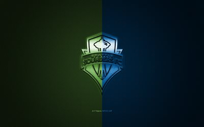 Seattle Sounders FC, MLS, American soccer club, Major League Soccer, blue-green logo, blue-green carbon fiber background, football, Seattle, Washington, USA, Seattle Sounders logo, soccer