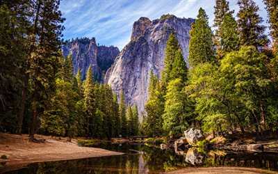 Yosemite National Park, river, berg, sommar, Kalifornien, vacker natur, USA, Amerika