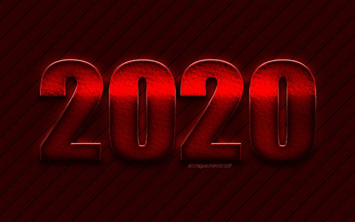 Download Wallpapers Red 2020 Background Happy New Year 2020