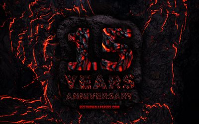 4k, 15 Years Anniversary, fire lava letters, 15th anniversary sign, 15th anniversary, grunge background, anniversary concepts