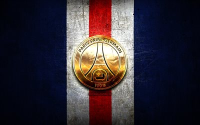 Paris Saint-Germain FC, kultainen logo, League 1, sininen metalli tausta, jalkapallo, Paris Saint-Germain, ranskan football club, PSG logo, Ranska, PSG FC