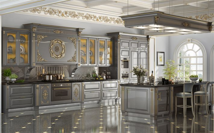 classic kitchen design, gray kitchen classic interior, design gold elements