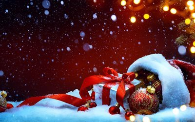New Year, New Year gifts, winter, snow, red Christmas balls