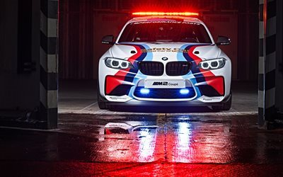 BMW M2 Coupe, garage, 4K, 2017 cars, MotoGP Safety Car, flashers, sportcars