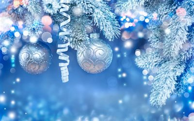 New Year, Christmas balls, Blue Christmas Background