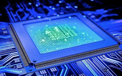 modern technology, 4k, chip, CPU, neon light, motherboard, computers