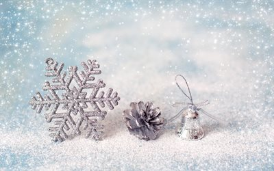 winter, decoration, New Year, snow, bumps, bell, snowflake