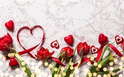 Valentines Day, red hearts, red ribbons, red flowers, love concepts