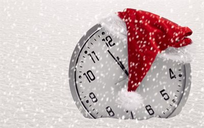Clock, New Year, midnight, snow, time, Christmas red cap