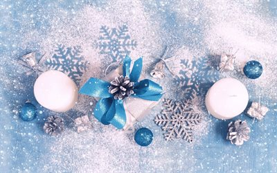 New Year, white candles, gift, blue silk bows, decoration, winter, snow
