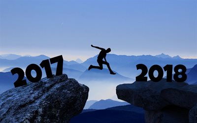 New Year, 2018 concepts, from 2017 to 2018, rocks, jump