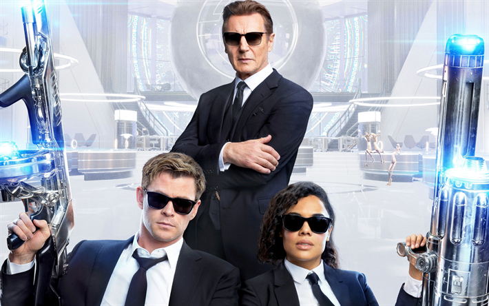 Men in Black International, 2019, 4k, promotional materials, poster, characters, actors, Agent H, Agent M, Liam Neeson, Chris Hemsworth, Tessa Lynn Thompson