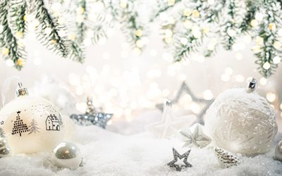 Christmas decorations, Happy New Year, White christmas balls, 2021, snow, Merry Christmas
