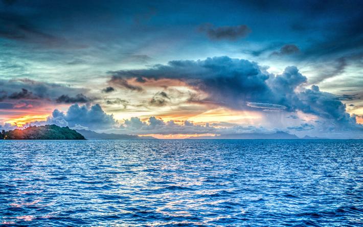 Scarica Sfondi Bora Bora 4k Oceano Pacifico Orizzonte Tramonto