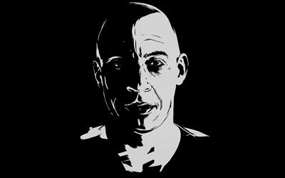 Vin Diesel, 4k, minimal, art, Dominic Toretto, The Fast and the Furious