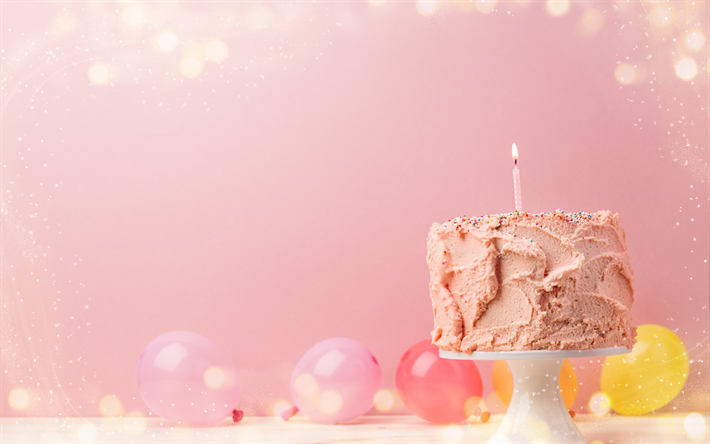 Download Wallpapers Happy Birthday Pink Birthday Cake