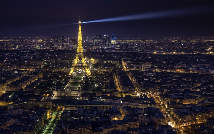 Download Wallpapers Eiffel Tower Paris Night Cityscape