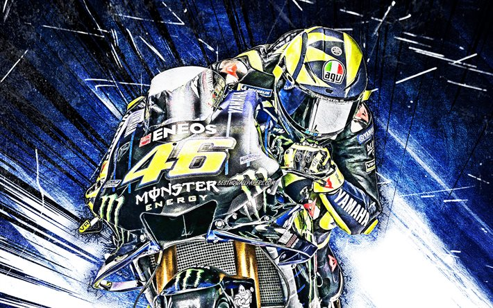 Download Wallpapers 4k Valentino Rossi Grunge Art Motogp Raceway Yamaha Yzr M1 Valentino Rossi On Track Blue Abstract Rays Racing Bikes Monster Energy Yamaha Motogp Yamaha For Desktop Free Pictures For Desktop Free