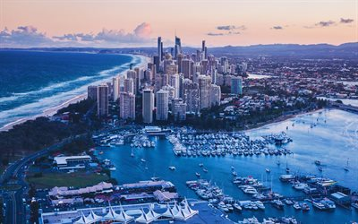 Queensland, 4k, Gold Coast, sunset, australian cities, harbor, Australia, Queensland in evening