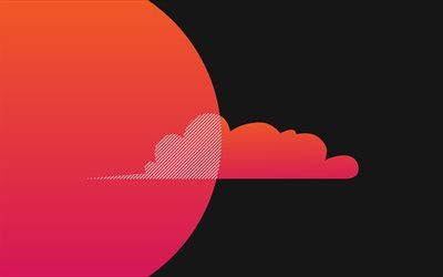 pink cloud, 4k, minimal, gray background, abstract clouds, creative, cloud minimalism