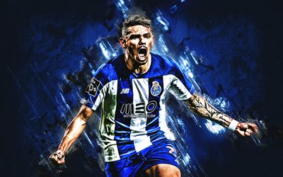 Tiquinho, Francisco Soares, FC Porto, Brazilian soccer player, portrait, blue stone background, football