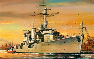 Leipzig, WW II, artwork, German cruiser Leipzig, German nawy, light cruisers