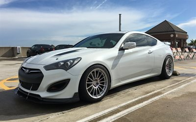 Hyundai Genesis Coupe, exterior, front view, white sports coupe, white Genesis Coupe, Korean cars, Hyundai