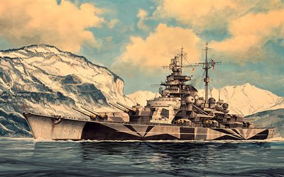 Tirpitz, WW II, artwork, German battleship Tirpitz, German navy, battleships