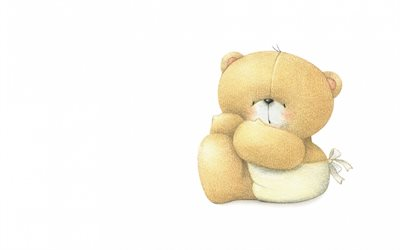 teddy bear, minimal, cute animals, white backgrounds, plush toys, cute bear