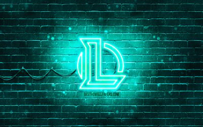 League of Legends turquesa logotipo, LoL, 4k, turquesa brickwall, League of Legends logotipo, Jogos de 2020, League of Legends neon logotipo, League of Legends, LoL logo