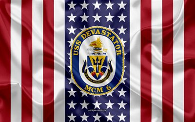 USS Devastator Emblem, MCM-6, American Flag, US Navy, USA, USS Devastator Badge, US warship, Emblem of the USS Devastator