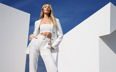 Candice Swanepoel, South African supermodel, photoshoot, white suit, South African fashion model, beautiful woman