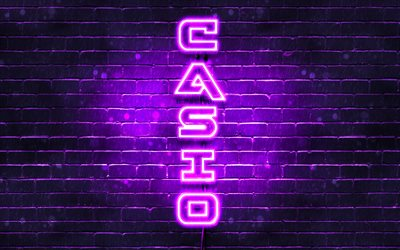 4K, Casio violeta logotipo, texto vertical, violeta brickwall, Casio neón logotipo, creativo, Casio logotipo, imágenes, Casio