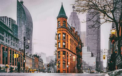 Flatiron Building, vinter, street, Fuller Building, Manhattan, New York, USA, Amerika