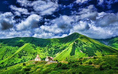 4k, Kazbegi National Park, HDR, beautiful nature, clouds, Caucasus range, Khevi Province, mountains, Georgia, Asia, georgian nature