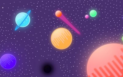 abstract space, comets, planets, galaxy, creative, stars, abstract galaxy