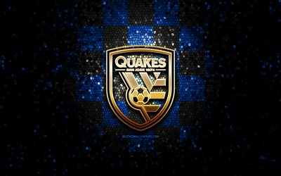 San Jose Earthquakes FC, glitter logo, MLS, blue black checkered background, USA, american soccer team, San Jose Earthquakes, Major League Soccer, San Jose Earthquakes logo, mosaic art, soccer, football, America