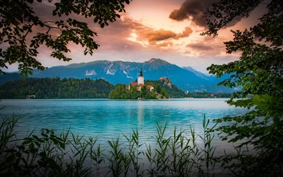 Bled, evening, sunset, Lake Bled, island church, mountain landscape, Alps, Slovenia