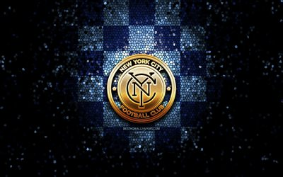New York City FC, glitter logo, MLS, blue checkered background, USA, american soccer team, FC New York City, Major League Soccer, FC New York City logo, mosaic art, soccer, football, America