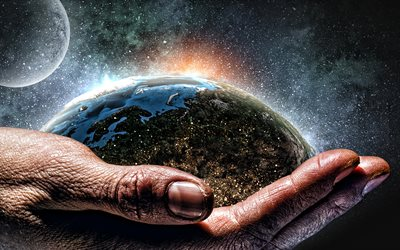 Earth in hand, starry sky, hand of an elderly person, Take care of the earth, Save Earth