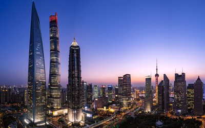 Lujiazui, Shanghai, 4k, skyline, Lokatse, chinese cities, skyscrapers, China, Asia, Shanghai at evening