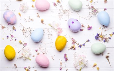 Easter eggs, spring flowers, Easter background, pink wood background, Easter, colored Easter eggs