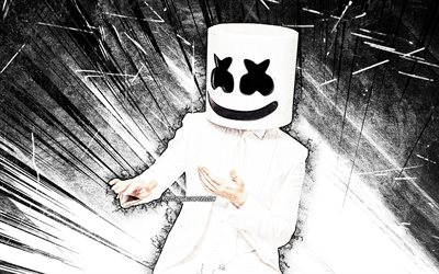 4k, DJ Marshmello, white abstract rays, music stars, Christopher Comstock, dancing Marshmello, american DJ, superstars, artwork, DJs, Marshmello