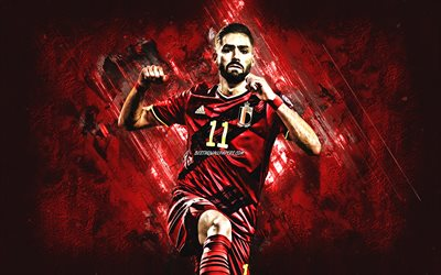Yannick Ferreira, Belgium national football team, Belgian footballer, midfielder, red stone background, football, Belgium, Yannick Ferreira Carrasco