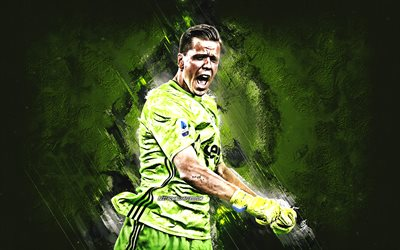 Wojciech Szczesny, Juventus FC, Polish soccer player, goalkeeper, green stone background, Serie A, Italy, football