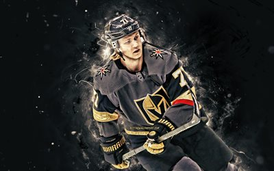 William Karlsson, 4k, Vegas Golden Knights, Wild Bill, NHL, hockey spelare, neon lights, hockey stjärnor, Lars William Karlsson, hockey, USA, William Karlsson 4K, William Karlsson Vegas Golden Knights