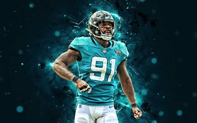 Yannick Ngakoue, 4k, NFL, Jacksonville Jaguars, amerikansk fotboll, defensiva slutet, Yannick Nicolas Ngakoue, National Football League, neon lights, Yannick Ngakoue Jacksonville Jaguars, Yannick Ngakoue 4K