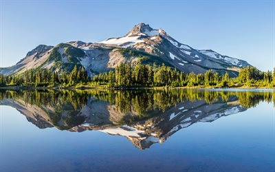 beautiful lake, mountain landscape, morning, spring, mountains, Oregon, USA