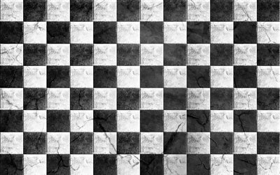 checkerboard, checkered flag, grunge backgrounds, chess board, black and white squares, grunge art, squares patterns