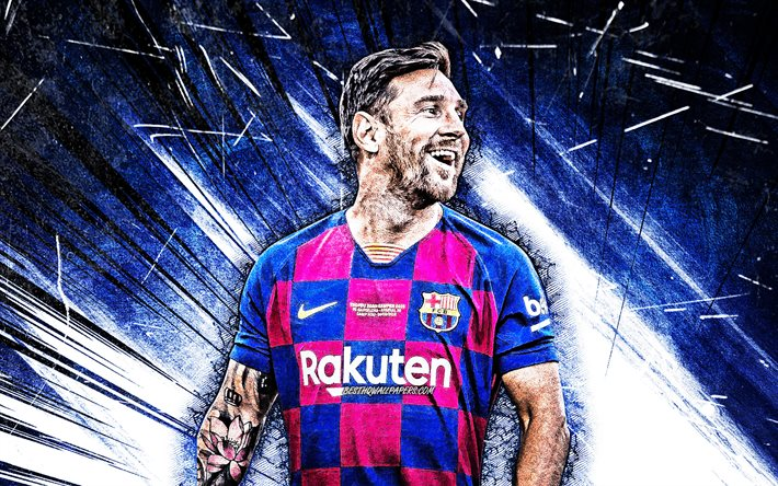 download wallpapers lionel messi grunge art 2020 4k barcelona fc fcb argentinian footballers football stars la liga messi leo messi laliga spain blue abstract rays barca soccer lionel messi 4k for desktop download wallpapers lionel messi